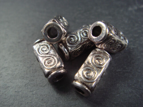 Celtic double spiral square 10mm silver tube beads 10 25 or 50