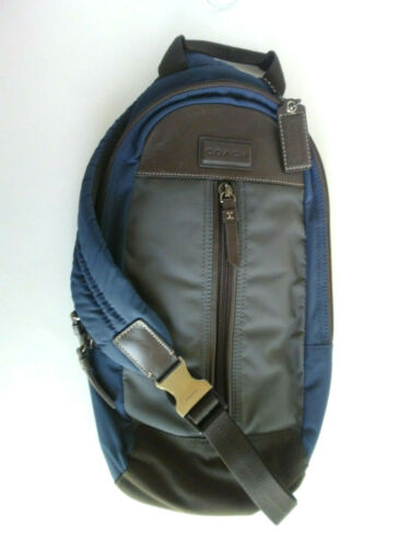 Coach Varick Colorblock Blue Leather Nylon Sling B