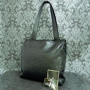 4b1c688c9d83 Rise-on Vintage CHANEL Lamb Skin Leather Black Tote Bag Shoulder Bag ...