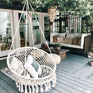 Details About Hammock Macrame Swing Chair White Hanging Twisted Rope Tassels Indoor Outdoor Aa