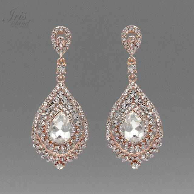 Rose Gold Plated Clear Crystal Rhinestone Wedding Drop Dangle Earrings 2130 Prom