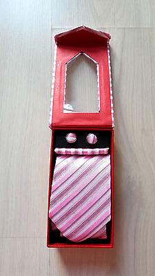 Brand New Mens 100% silk Tie with Cufflinks Gift set in box