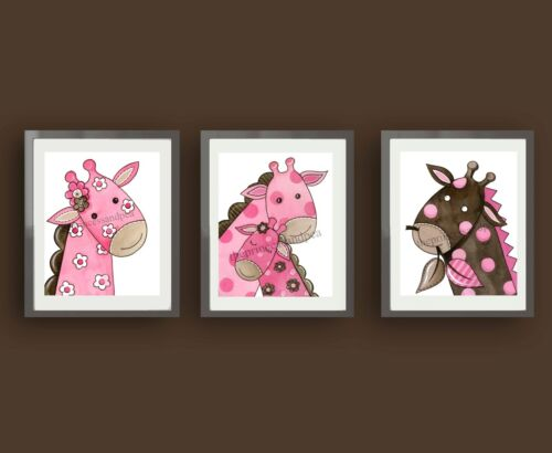 giraffe nursery wall art prints chevron bedding decor pictures pink and brown