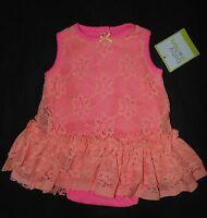 Babystarters Baby Girls Size 3m Bodysuit Lace Overlay Layers Peach Dress Summer