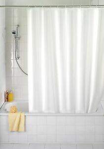 Rideau de Douche Blanc Tissu Divers Masse avec Anneaux Cloison ...