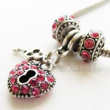 Hot Pink Key To My Heart European Charm Bead Trio - October Birthday Birthstone