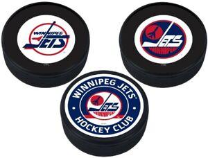 Winnipeg Jets Vintage NHL 3D Textured Collectors Hockey Pucks (3-Pack)