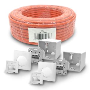Cat 7 Verlegekabel 50 m Netzwerkkabel 2 Netzwerkdose Cat6a Dose Lan S//FTP Kabel