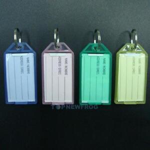 40PCS-New-Plastic-Luggage-ID-Label-Key-Tags-Keychains-Key-Ring-Tag-Name-Card-Fob