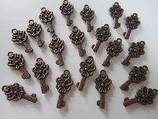 20 antiqued copper  tone skeleton keys wedding vintage pendants charms 22 mm