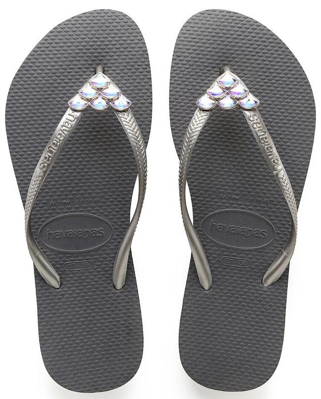 Havaianas Damens`s Flip Flops Slim Mermaid Sandale Steel Grau / Swarovski Crystals