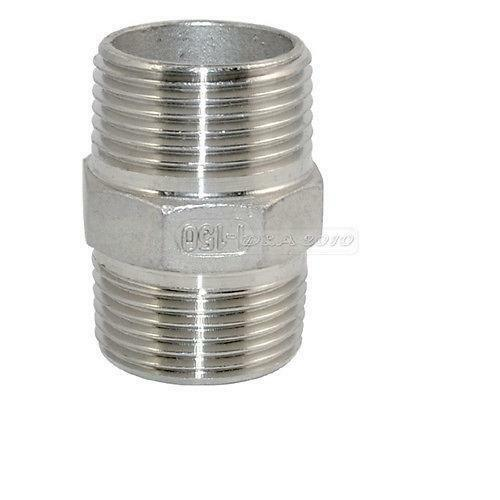 """1/"""" Male x 1/"""" Male Hex Nipple SS 304 Threaded Pipe Fitting NPT"""