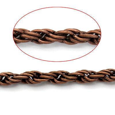 1m Chaine chainette Argenté 2mm maillon vague tresse creation Bijoux twist