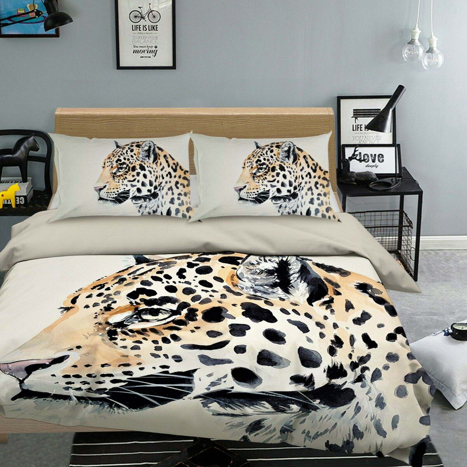 3D Leopard I64 Animal Bed Pillowcases Quilt Duvet Cover Queen King Angelia