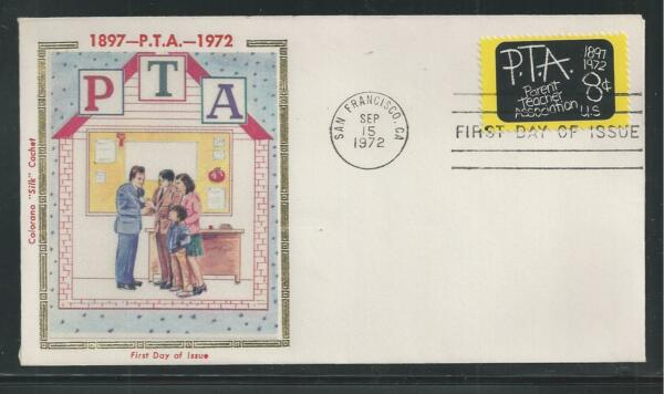 # 1463 P.T.A. PARENT-TEACHER ASSOCIATIONS 1972 Colorano 'Silk' First Day Cover