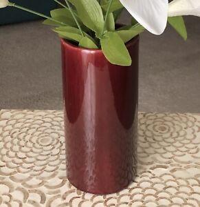 Vintage-Haeger-USA-Vase-3917-Burgundy-9-034-Tall-Heavy-Ceramic-Art-Pottery-Glazed