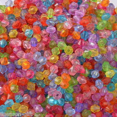 2000 Mixed Bicone Acrylic Tiny Spacers Beads 4x4mm