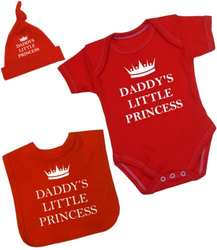 BabyPrem Baby Clothes Girls 3 Piece Daddy/'s Princess Set Bodysuit Hat Bib NB-12M