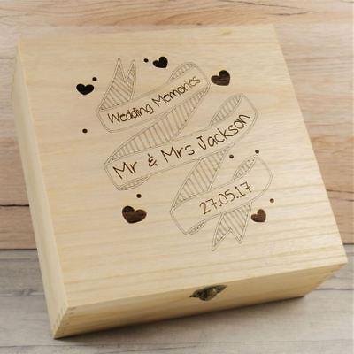 Personalizzata Mr & Mrs Box Scatola Di Legno Ricordo Box, Matrimoni Anniversario Ricordi- Brividi E Dolori
