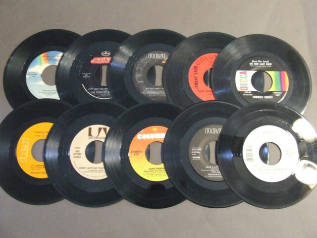 LOT 10  Vintage Vinyl 7 inch 45 Records for Crafts Decoration MAN CAVE FAST SHIP