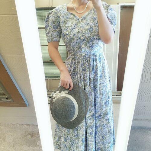 VINTAGE Laura Ashley BLUE GREEN FLOWER Garden par