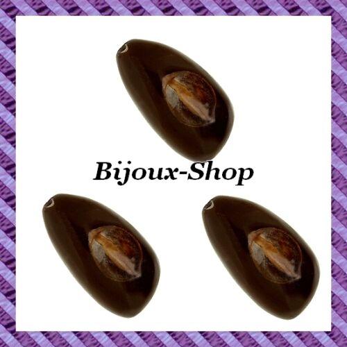 Perle graine ampion oval marron X5