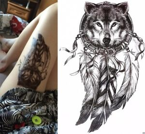 73ff09731 Image is loading Wolf-Dream-Catcher-Animal-Temporary-Tattoo-Sticker-3D-