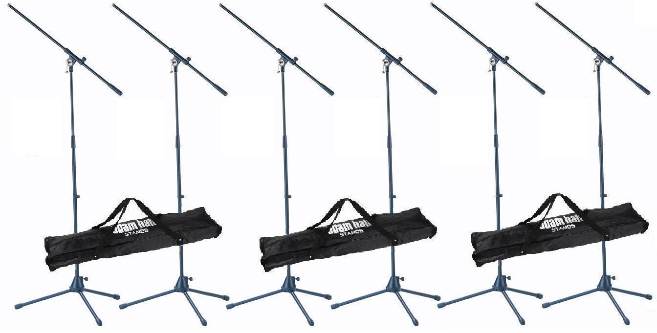 6x Adam Hall Microphone Tripod Incl. 3x Transport Bag Microphone Stand Carry Bag