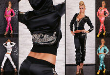 SATIN TRACKSUIT LEOPARD PRINT HOODIE SWEATSHIRT GYM SUIT SET Size 8-12 HOT