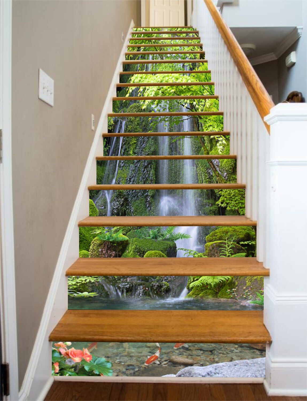3D Gieen Wasser 34 Stair Risers Dekoration Fototapete Vinyl Aufkleber Tapete DE