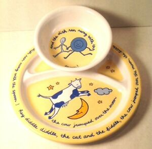 Feeding Sets Baby Discreet Cow Over The Moon Toddler Dinner Lunch Set Plate Bowl Nursery Rhyme Be Novel In Design
