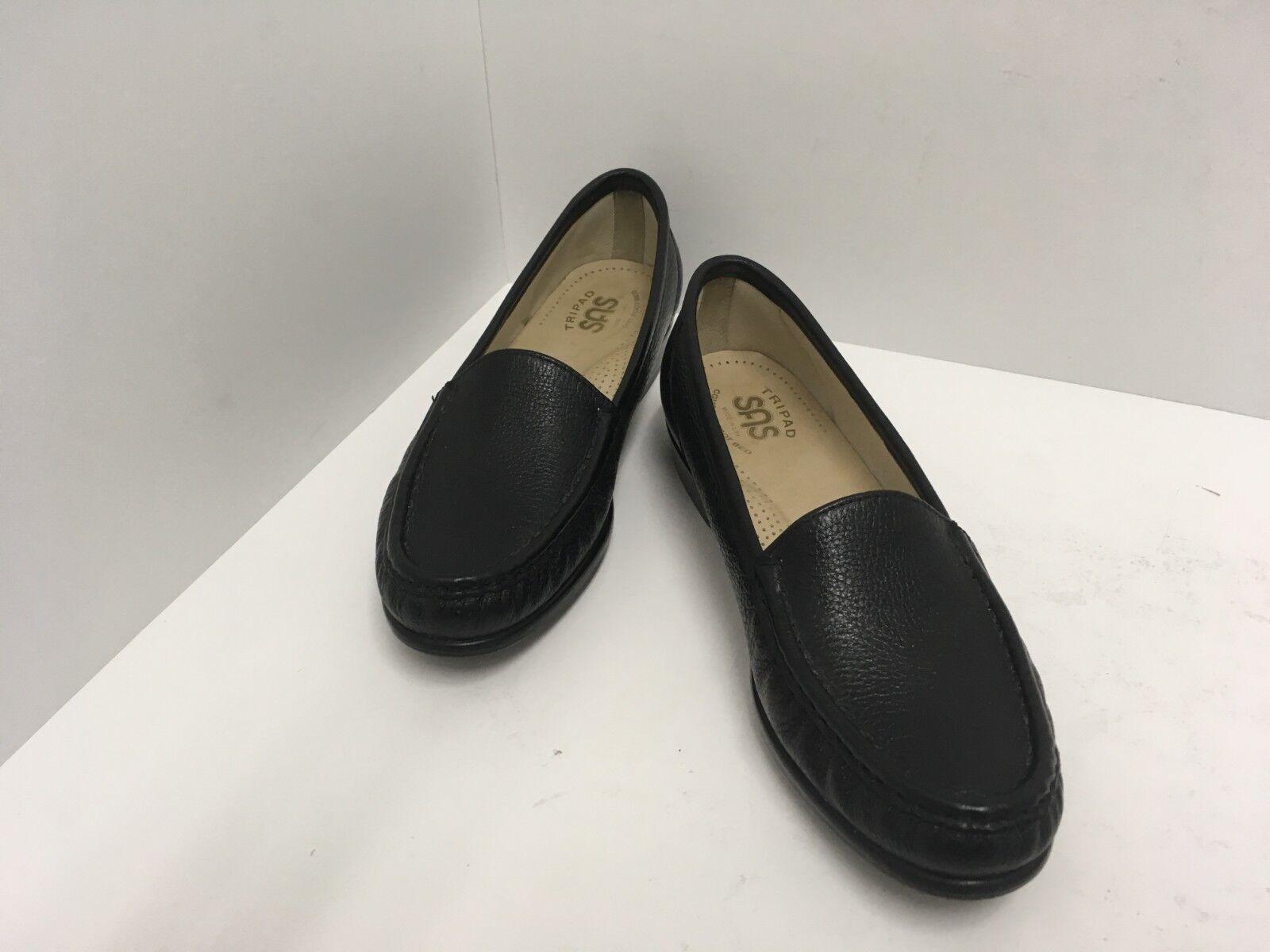 SAS Simplify Slip-On Womens Size 7N Black Leather Tripad Comfort Loafer Made USA