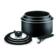 Tefal Ingenio Essential Non Stick 7pc Saucepan Pan Set Kitchen Cookware Black