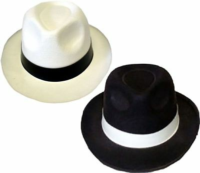 Al Capone Felt Gangster Hat Trilby Mob White MICHAEL JACKSON STYLE  good quality