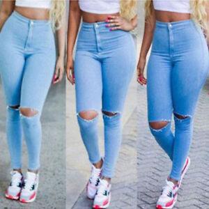 Women-Denim-Skinny-Ripped-Pants-Leggings-Stretch-Jeans-Slim-Pencil-Trousers
