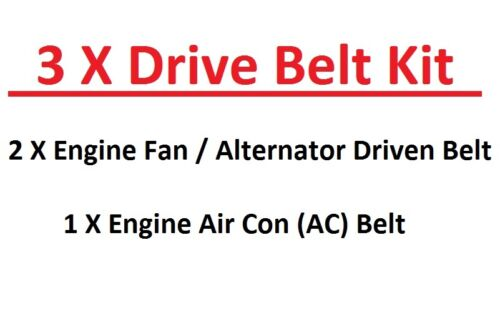 3 X Engine Fan//Alternator+AC Drive Belts For Mazda Pick Up BT50-2.5TD 3.0TD