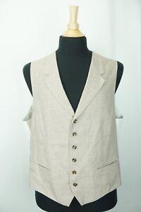 SuitSupply Marling Evans Woven England Linen Blend Houndstooth Vest Sz 56eu 46us