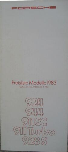 14.3.1983 LISTINO Prezzi Porsche programma 1983