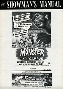 MONSTER-ON-CAMPUS-1958-ORIGINAL-Uncut-UNFOLDED-Rare