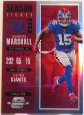promo code 87332 85066 2017 Contenders Optic Season Ticket Red BRANDON MARSHALL #187/199 NY Giants  | eBay