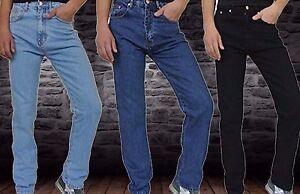 New-Mens-Straight-Leg-Regular-Fit-Plain-Denim-Jeans-All-Waist-amp-Sizes