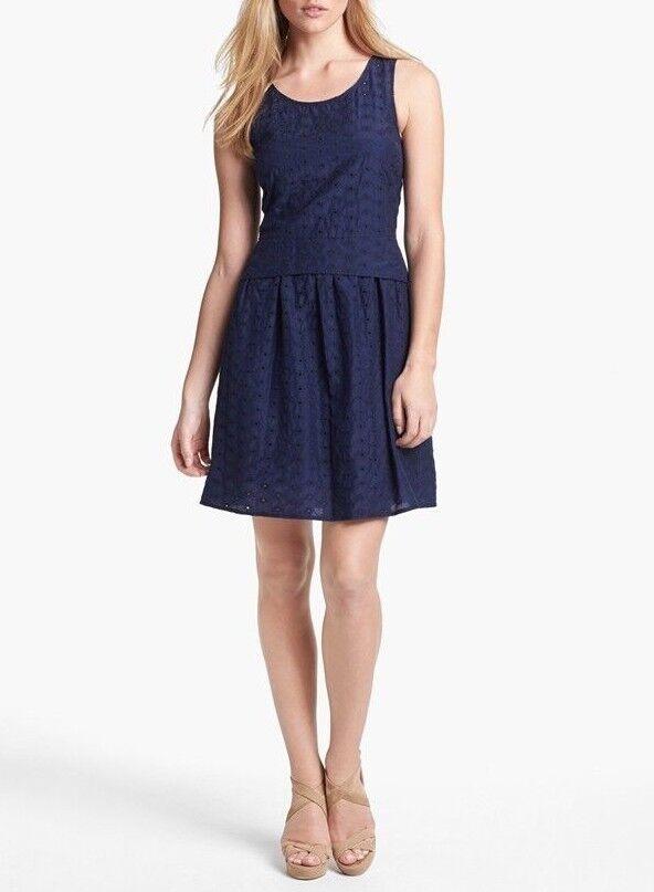 Marc by Marc Jacobs ROSIE EYELET Cotton & Silk Dress in Twilight Blau Sz 6