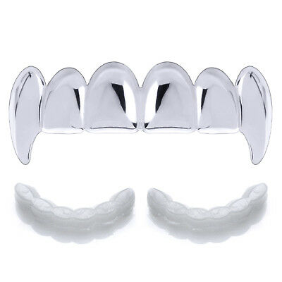 Hip Hop Cut  Grillz Silver Plated Top Plain Teeth L052 S 1 extra Mold Bar