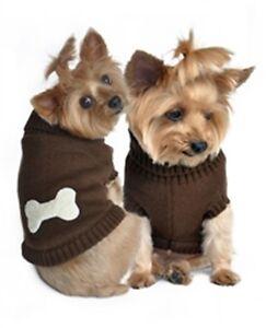 Doggie Design Brown Dog Bone Sweater  ~ Size XXS