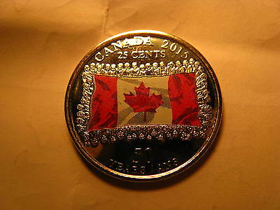 CANADA 2015 25 CENT COIN COLOURED COMMEMORATING 50 YRS OF CANADIAN FLAG