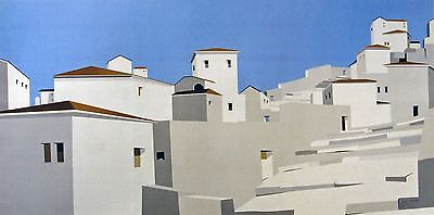 "James Harrill, Greek Village, ""Steps to the Sky"", poster, 17.5x35.5 image"