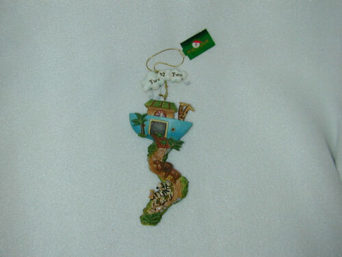 CHRISTMAS NOAH/'S ARK /'/'TWO BY TWO/'/' RESIN  FRONT//BACK OF ORN-NEW 1 ORN ONLY