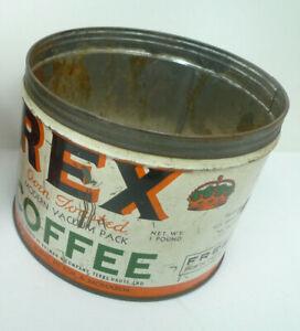 Vintage 1950s REX COFFEE GRAPHIC NO LID COFFEE TIN 1 POUND TERRE HAUTE INDIANA