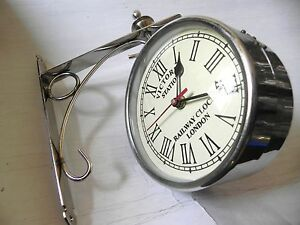 VICTORIA ~ STATION ~ RAILWAY SILVER CLOCK LONDON DOUBLE ~ SIDE CLOCK 10 INCHES
