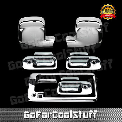 For SUBURBAN TAHOE YUKON 2007-2014 Chrome Covers Set Mirrors+4 Door+Gas+Liftgate